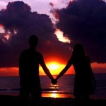 sunset beach couple