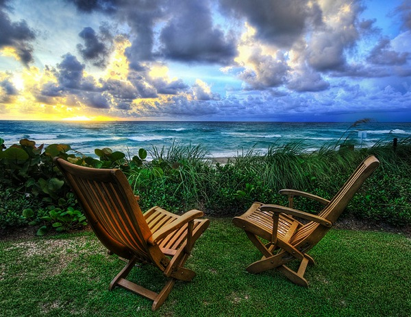 Two chairs at beach by Trey Ratcliff