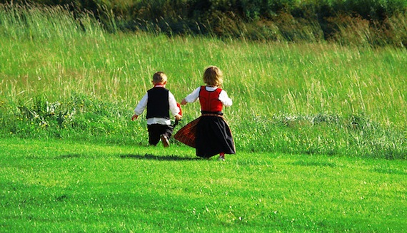 Two lovely kids in a field